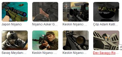 Sniper, tabanca, ok atma oyunu